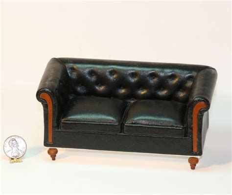 Tufted Back Leather Sofa Black Leather Sofa With A Tufted Back Dollhouses And More
