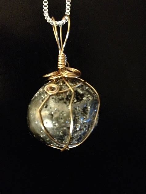 jewelry with stones pyrite wire wrapped pendant for sale by