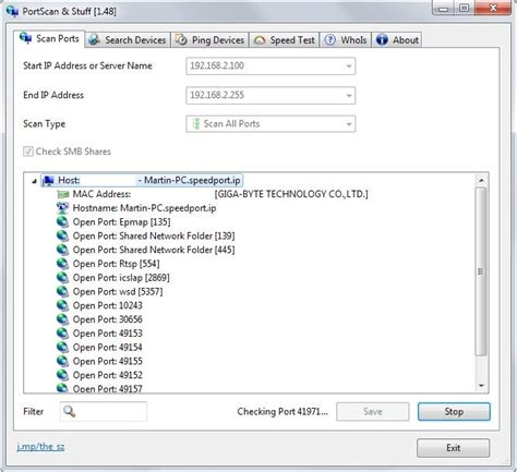 check open display all open ports on your network using portscan for