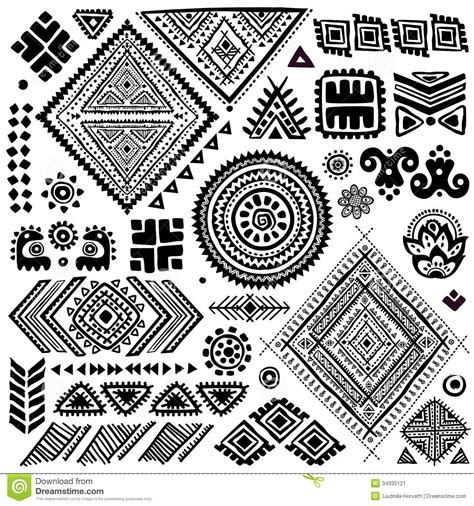 tribal ethnic pattern tribal vintage ethnic pattern set stock vector