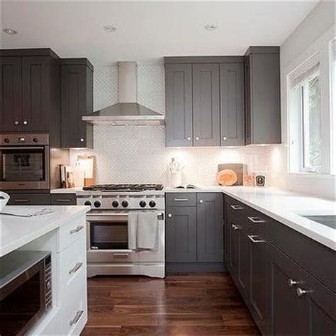 dark shaker kitchen cabinets small kitchen appliances garage with tiled backsplash