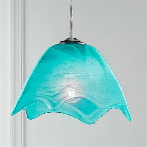 Aqua Pendant Lights Wavy Glass Pendant Light Available In 5 Colors Aqua Cobalt Blue Li