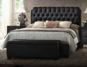 ireland platform bed with button tufted headboard black