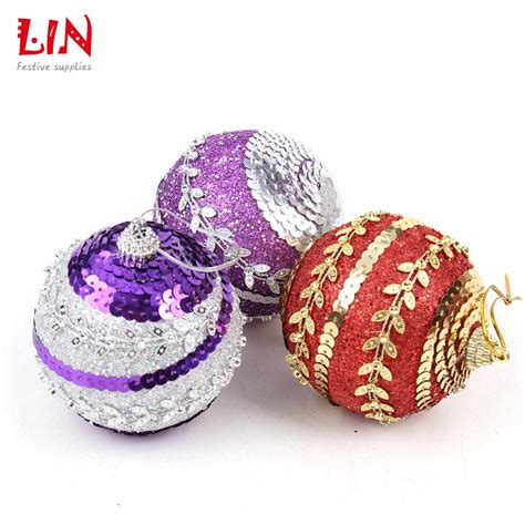 8cm sequins glitter christmas ornaments tree pendant