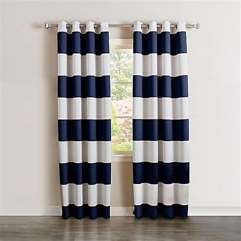 Rugby Stripe Curtains Buy Decorinnovation Rugby Stripe 84 Inch Grommet Top Room Darkening Curtain Panel Pair In Navy