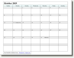 october  printable calendar print