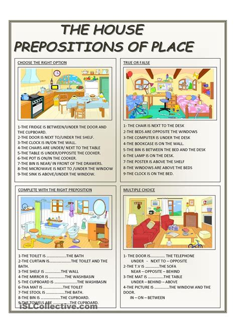 house printable exercises предлоги и направления the house prepositions of place