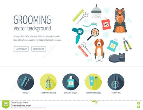 page layout and design concepts groomer cartoons illustrations vector stock images