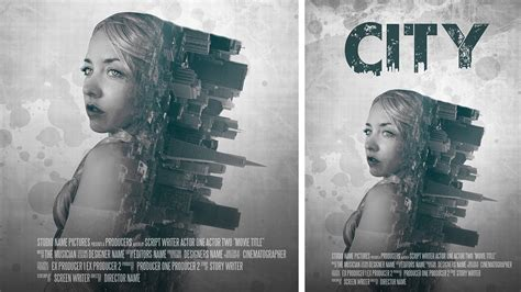 double exposure city tutorial photoshop manipulation film poster design double
