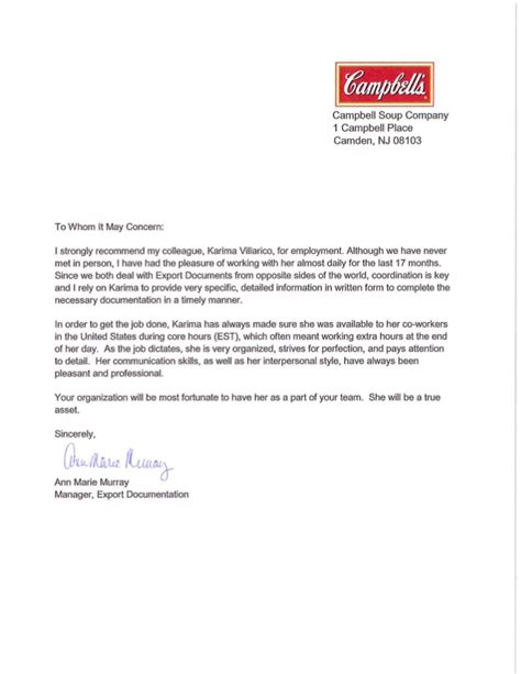 Recommendation Letter From College To Company Cbell Soup Company Recommendation Letter