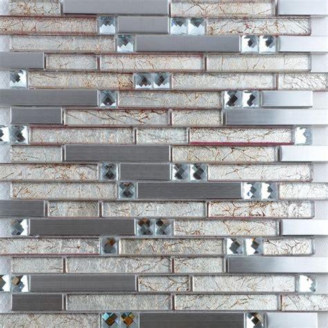 glass mosaic tile backsplash interlocking metal glass