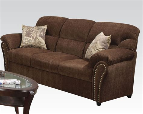 Acme Dark Brown Sofa W 2 Pillows Patricia Ac50130 Pillows For Brown Sofa