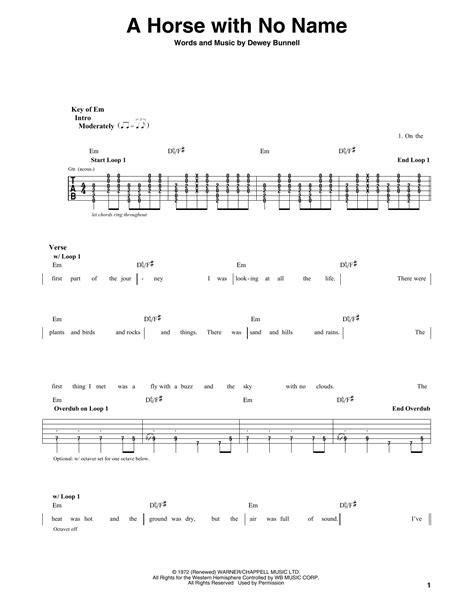 guitar tutorial horse with no name a horse with no name by america guitar lead sheet