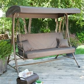 hton bay 3 person swing 3 person convertible canopy swing patio bed in chocolate