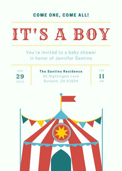 Circus Baby Shower Invitation Templates by Circus Invitation Templates Canva