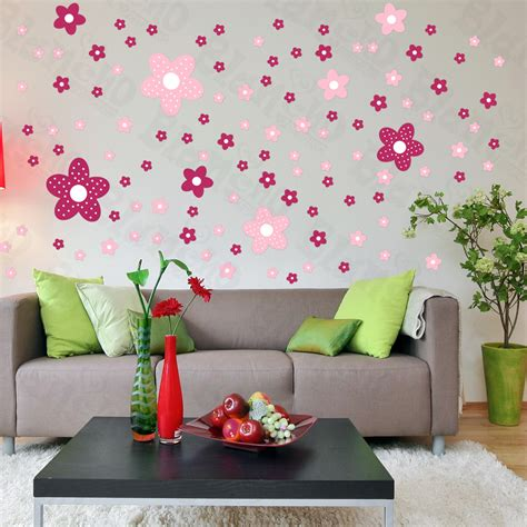 flower wall stickers for bedrooms pink flower wall decals on living room 5617 home
