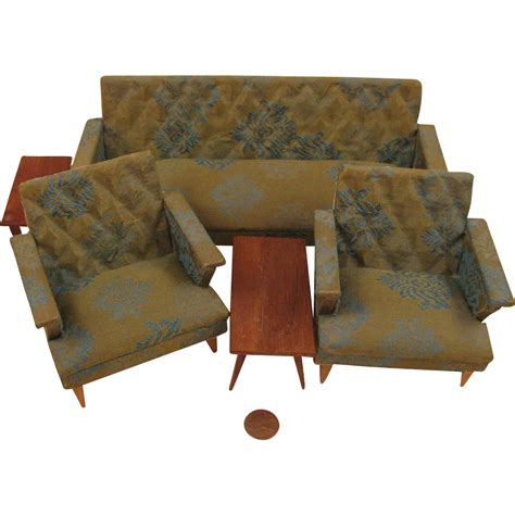 living with mid century collectibles mid century modern doll house 5 pc living room furniture set from virtu doll on ruby lane