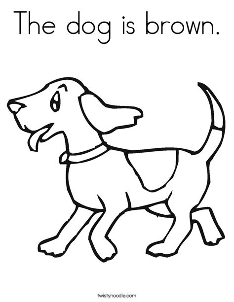 the dog is brown coloring page twisty noodle