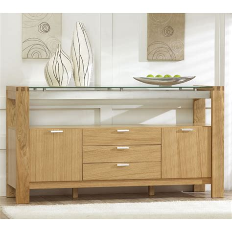 Glass Sideboards by Arturo Modern Solid Oak With Glass Sideboard 13409