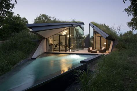 modern eco homes underground eco house split into living and sleeping halfs