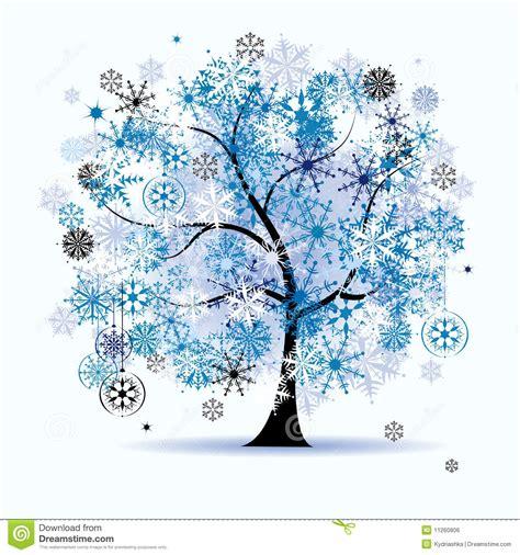 winter tree snowflakes stock vector winter tree snowflakes stock vector image 11260806