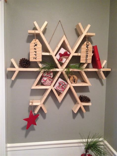 simple xmas wood white snowflake shelf featuring chasing a diy projects