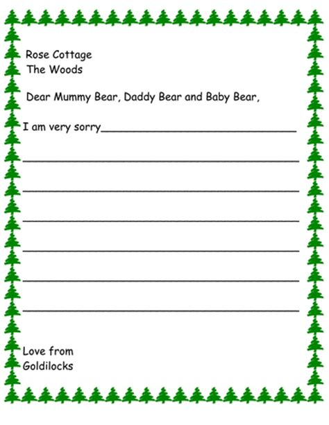 Apology Letter Goldilocks Vbanks Shop Teaching Resources Tes