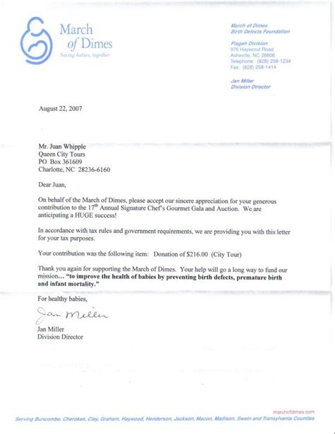 donation letter for march of dimes qqueen city tours and travel links news community