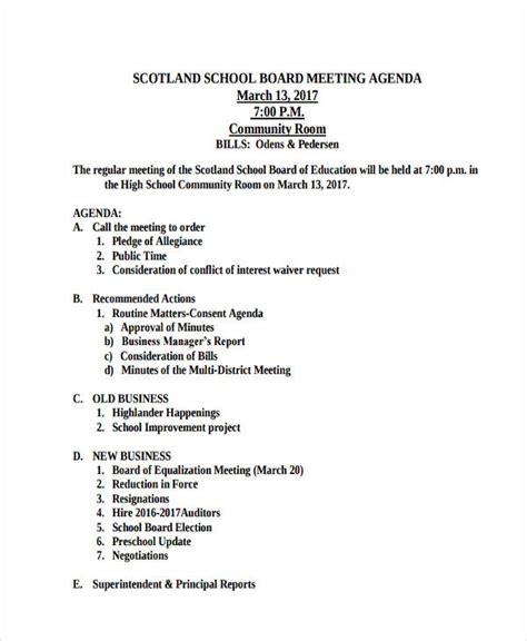 46 Meeting Agenda Templates Free Premium Templates School Board Meeting Minutes Template