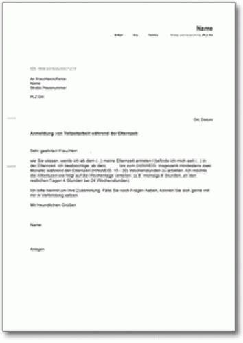 Vorlage Antrag Auf Unbezahlten Urlaub Antrag Auf Teilzeitarbeit W 228 Hrend Der Elternzeit