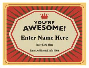 awesome certificate templates you re awesome certificate free award certificates