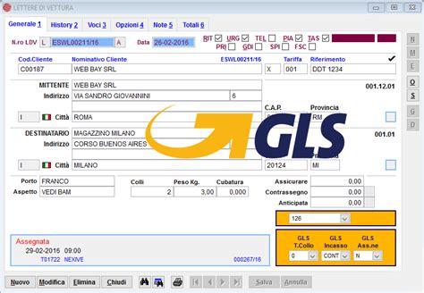 spedizioni lettere con courier 232 possibile generare le lettere di vettura gls