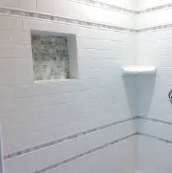 subway tile with mosaic accent bathroom decor ideas tiles shower wall and