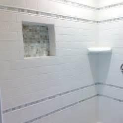 subway tile with mosaic accent bathroom decor ideas bathrooms master white tiles