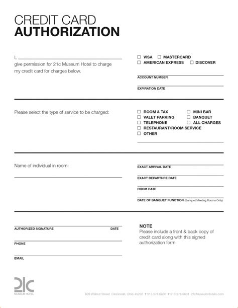 authorization letter to use credit card template hotel credit card authorization form 15797078 png manager