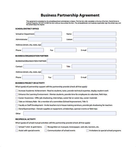 8 Business Partner Agreements Sle Templates Business Partnership Agreement Template Free