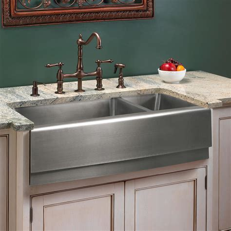 stainless farmhouse kitchen 39 quot optimum double bowl stainless steel farmhouse