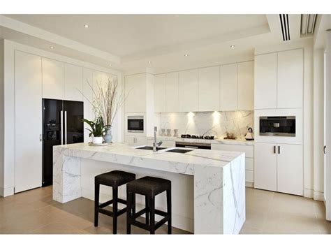 Kitchen Central Island White Kitchen With Calcatta Wrapped Central Island