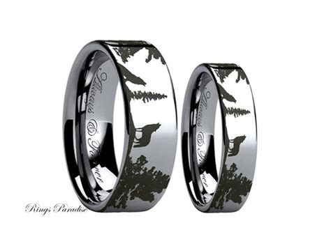 Wedding Bands Couples by Wolf Ring Couples Wedding Ring Wedding Band Sets