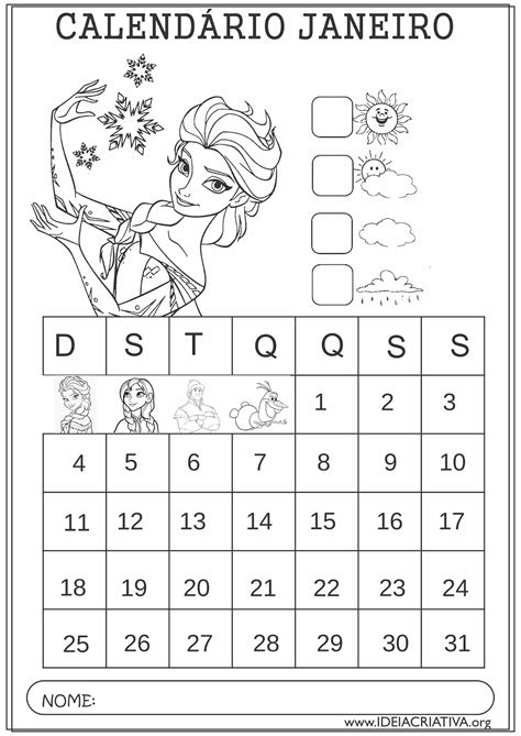 Calendario Janeiro 2015 Calend 225 Rios Janeiro 2015 Frozen Colorir Educa 231 227 O Infantil