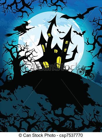 halloween themes line vector clipart of haunted halloween theme halloween