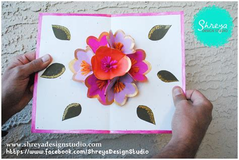 beautiful cards to make tutorial how to make a seven flower pop up card shreya