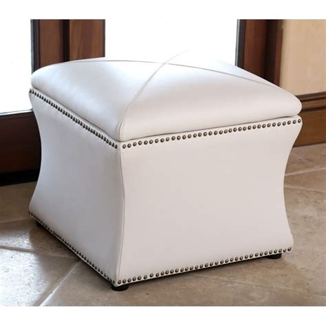 ivory ottoman leather abbyson living monica pedersen square leather storage