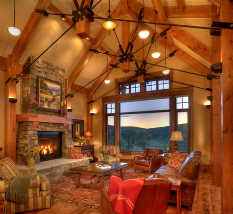 lodge  trout creek great room rustic living room