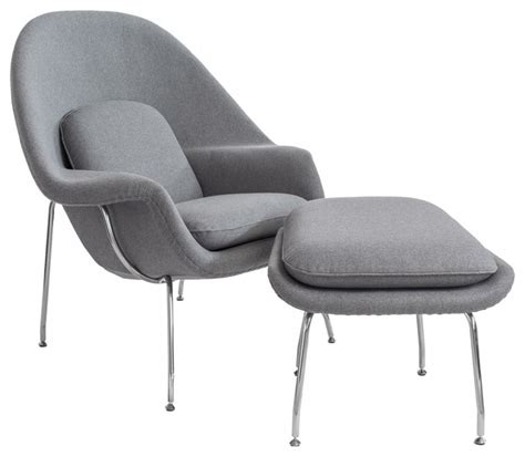 Womb Chair With Ottoman Grey Midcentury Armchairs Grey Chair With Ottoman