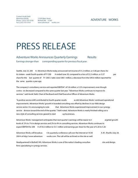 Free Press Release Template 47 free press release format templates exles sles