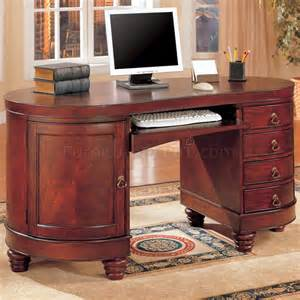 Classic Office Desks Brown Cherry Finish Kidney Shaped Classic Home Office Desk
