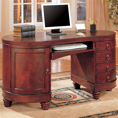Classic Office Desk Brown Cherry Finish Kidney Shaped Classic Home Office Desk