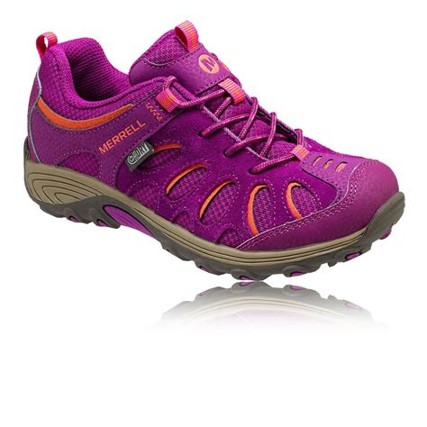 merrell cham low lace junior pink orange waterproof trail
