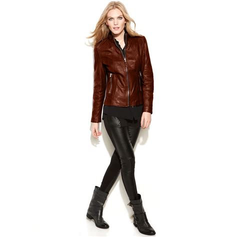 Guess Color Leather Black lyst guess leather motorcycle jacket in